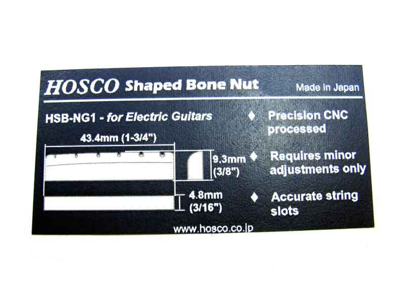 HOSCO Shaped Slotted Bone Nut For Gibson Style Guitars