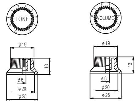 stratocaster ufo knobs  set of 3   stknb