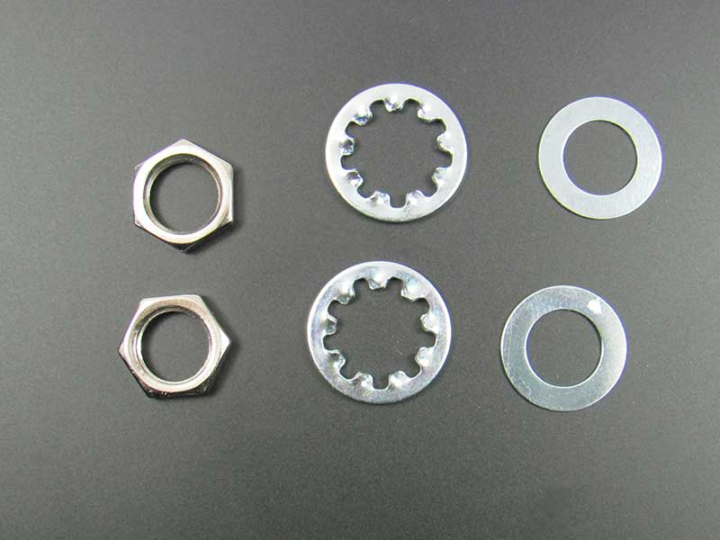 "Nut, Washer + Lock Washer for 3/8"" Pots and Jacks (2 of each)"